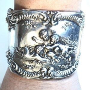 Antique Art Nouveau Rare Sterling Bracelet Cuff